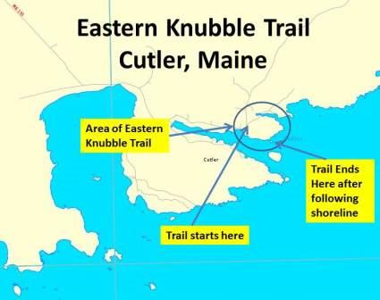 Map Eastern Knubble Trail - Cutler, Maine