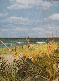 Painting of Maine seashore.