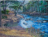 Painting of a fishing stream in Maine