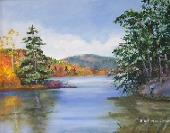 Painting of Maine Lake in Fall