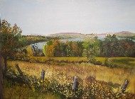Painting of Lake Thompson in Oxford, Maine - a fall scene