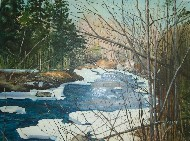 Paintings by Ruth Friberg Maine Winter Stream