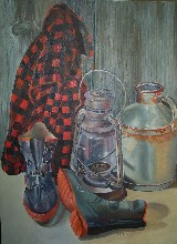 Red Coat painting of gentleman farmer in Maine