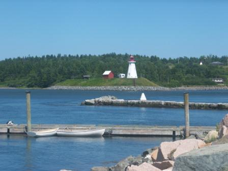 Lighthouse on Campobello Island, Canada as seen from Lubec, Maine